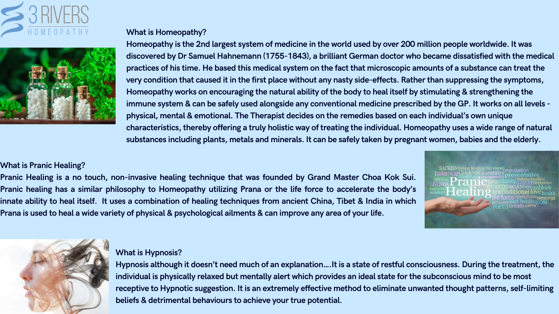 What is Homeopathy, Hypnosis and Pranic Healing